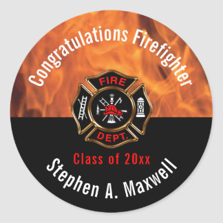 Sticker Rond Le sapeur-pompier de félicitations flambe le nom
