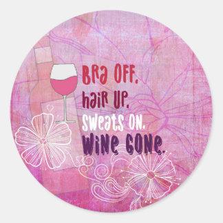 Sticker Rond Le soutien-gorge, des cheveux, sue dessus, vin