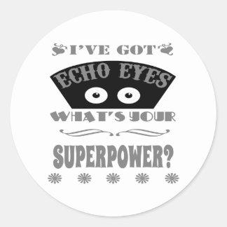 Sticker Rond L'écho observe la superpuissance (grise)