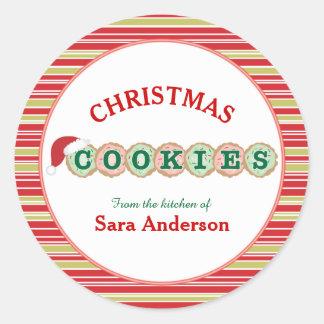Sticker Rond Les biscuits avec arrose la cuisson de Noël