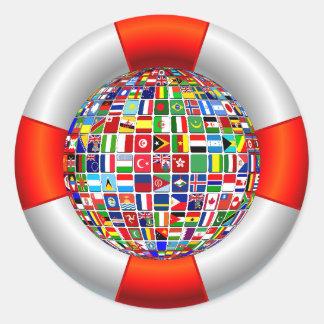 Sticker Rond Les écoulements du monde