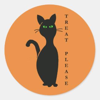 Sticker Rond Les festins satisfont le chat