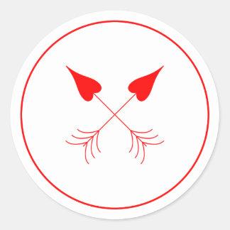Sticker Rond Les flèches Las Vegas du cupidon de coeurs