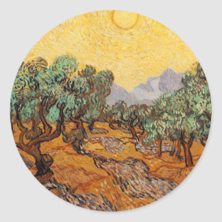 Sticker Rond Les oliviers de Vincent Van Gogh (Olives trees)