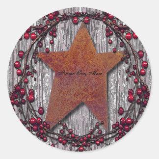 Sticker Rond Les panneaux de grange se sont rouillés étoile