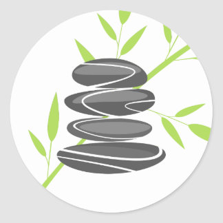 Sticker Rond Les pierres de caillou de zen empilent des