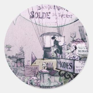 Sticker Rond Les toits-1883 Robida de Sur