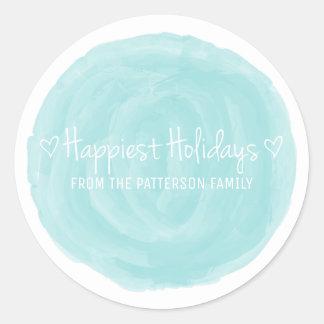 Sticker Rond Les vacances les plus heureuses d'aquarelle de