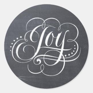 Sticker Rond Lettrage de calligraphie de Noël de tableau de