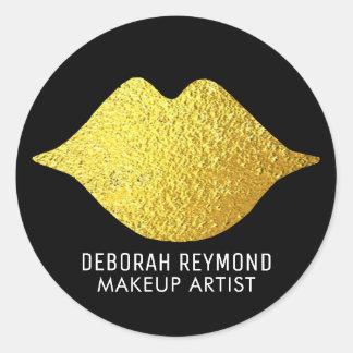 Sticker Rond lèvres d'or sur le noir pour une beauté de
