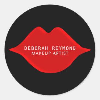Sticker Rond lèvres rouges sur le noir pour une beauté de