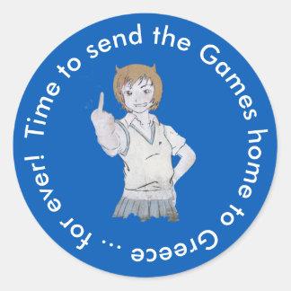 Sticker Rond L'heure d'envoyer les jeux soutiennent