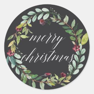 Sticker Rond L'hiver fleurit Joyeux Noël de |