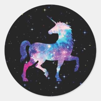 Sticker Rond Licorne magique de galaxie colorée