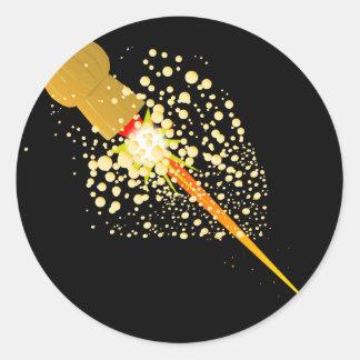Sticker Rond Liège propulsé par fusée volant