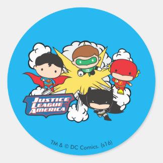 Sticker Rond Ligue de justice de Chibi d'explosion de