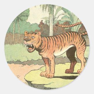 Sticker Rond Livre de contes de tigre