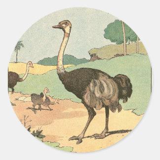 Sticker Rond Livre d'histoire d'autruche illustré