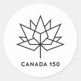 Sticker Rond Logo de fonctionnaire du Canada 150 - contour noir