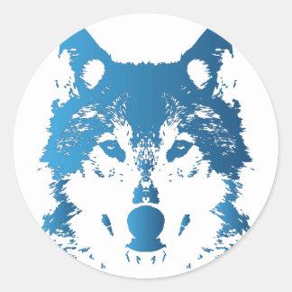 Sticker Rond Loup de bleu glacier d'illustration