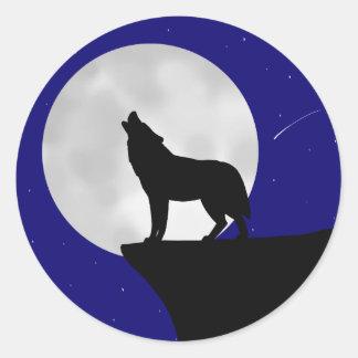 Sticker Rond Loup hurlant à la lune