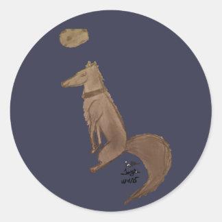 Sticker Rond Loup par Reddawolf