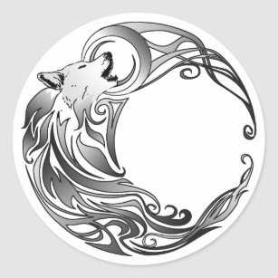 Sticker Rond Loup tribal - ombragé