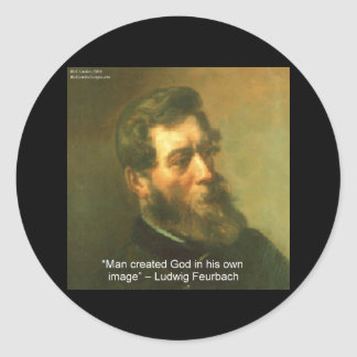 Sticker Rond Ludwig Feurbach et citation créée par homme de