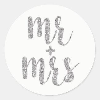 Sticker Rond M. et Mme argentés autocollants, scintillement,