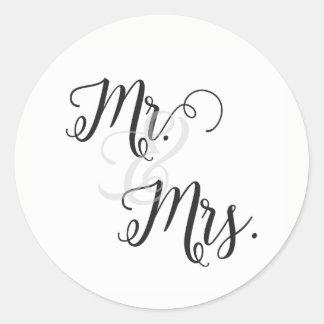 Sticker Rond M. et Mme Wedding Stickers- noir et blanc