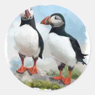 Sticker Rond Macareux atlantiques