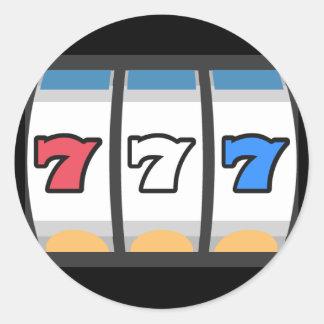 Sticker Rond Machine aux sous 777 chanceuse