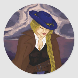 Sticker Rond Madame Gunslinger