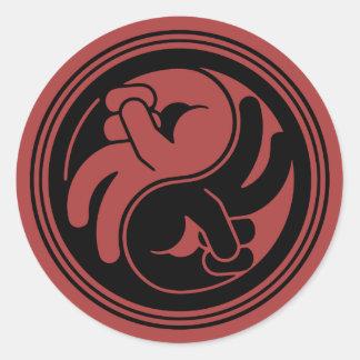 Sticker Rond Main Yin Yang de paix