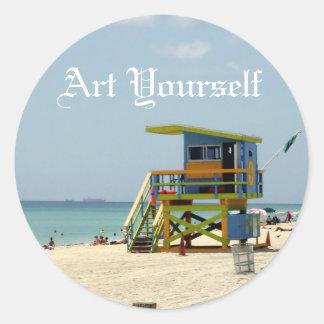 Sticker Rond Maître nageur Shack de Miami Beach