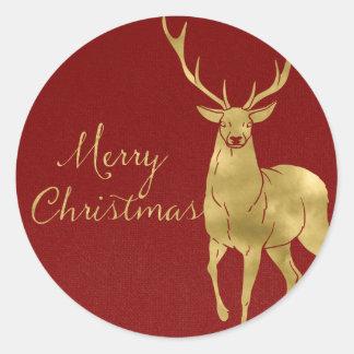 Sticker Rond Mâle rouge et d'or de Noël