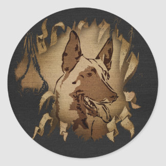 Sticker Rond Malinois - berger belge - Mechelaar - Maligator