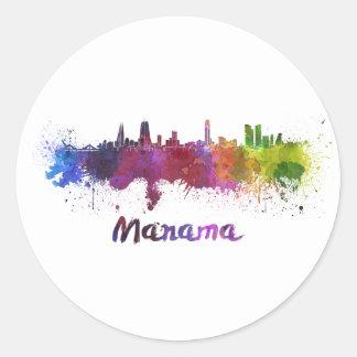 Sticker Rond Manama skyline in watercolor