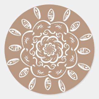 Sticker Rond Mandala de noix de muscade