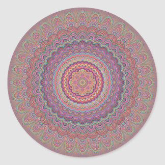 Sticker Rond Mandala géométrique hippie