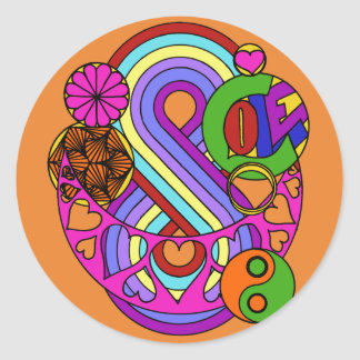 Sticker Rond Mandala orange d'amour