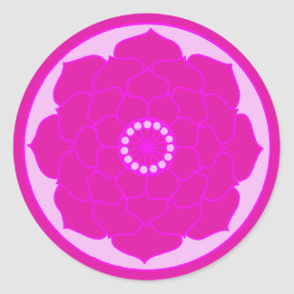 Sticker Rond Mandala rose fuchsia de Lotus