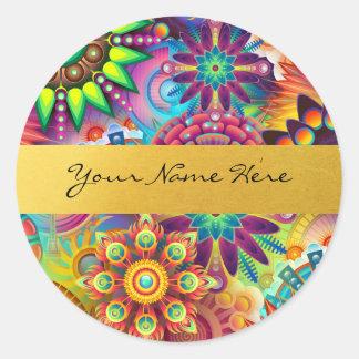 Sticker Rond Mandalas floraux géniaux personnalisés de flamme
