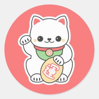 Sticker Rond Maneki mignon Neko