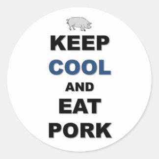 Sticker Rond Mangez du porc