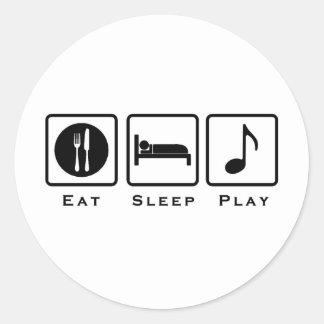 Sticker Rond mangez la musique de sommeil