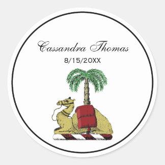 Sticker Rond Manteau de couleur de palmier de chameau des bras