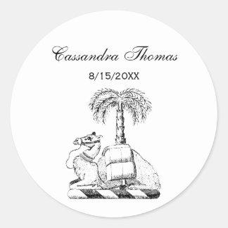 Sticker Rond Manteau de palmier de chameau des bras héraldique