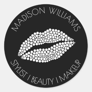 Sticker Rond Maquillage de beauté de styliste de lèvres de