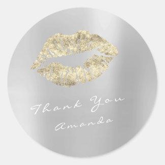 Sticker Rond Maquillage nommé de gris argenté d'or de baiser en